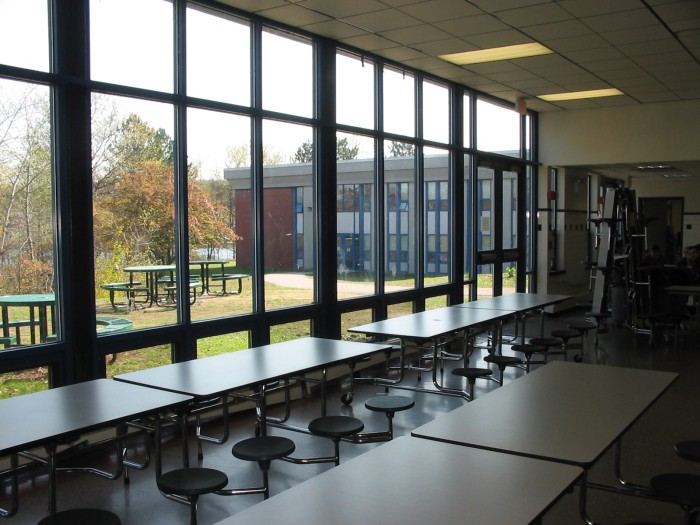 View of Grafton High near Lake Ripple from cafeteria