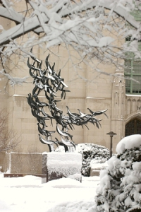 The Martin Luther King memorial at BU's Marsh Chapel consists of many metal cranes taking flight. (BU PHOTO)