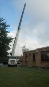 Roof replacement at the Grafton Municipal Center begins (photo courtesy of the Town of Grafton Facebook page)