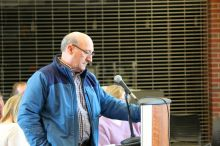 State Rep. George N. Peterson Jr. Saturday at the Grafton Town House public hearing. Photo by Jennifer Lord Paluzzi